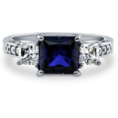 BERRICLE Silver Princess Simulated Sapphire CZ 3-Stone Engagement Ring... ($67) ❤ liked on Polyvore featuring jewelry, rings, sapphire, sterling silver, women's accessories, silver engagement rings, cubic zirconia wedding rings, princess cut wedding rings, cubic zirconia rings and sapphire wedding rings