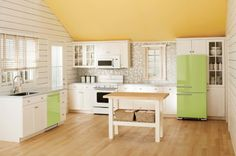 We love color in kitchens! Colored appliance trend