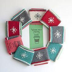 Christmas Crochet Coffee Cozy Pattern Round Up Crochet Teacher Gifts, Crochet Christmas Gifts, Holiday Crochet, Crochet Gifts, Christmas Cup, Christmas Crochet Patterns, Crochet Coffee Cozy, Crochet Cozy, Crochet Yarn