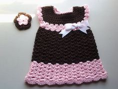 Crochet baby dress, brown and pink crochet baby dress & hair clip, baby girl summer outfit, toddler dress, brown baby dress, flower hairclip