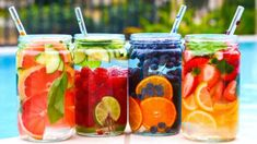 Creative, delicious fruit infused water recipes that will help keep you and the kids hydrated all summer long Infused Water Recipes, Fruit Infused Water, Fruit Water, Infused Waters, Dietas Detox, Liver Detox, Detox Tips, Liver Cleanse, Healthy Detox