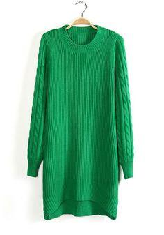 Green Swallowtail Cap Sleeve Long Wool Sweater