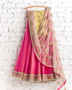 Lehengas by SwatiManish : Candy pink lehenga with blush dupatta
