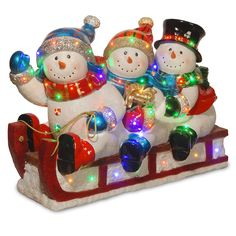 National Tree BG-19154A Sledding with 3 Snowmen Figurines with 48 LED Light, 29', Multicolor >>> Details can be found  : Christmas Decorations