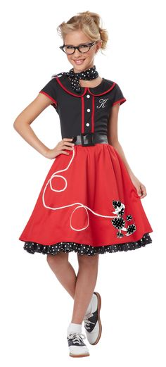 50s Sweetheart Girls Sock Hop Costume- A cute throwback costume for summer sock…