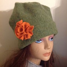 Girl thickly Felted Wool Hat green color by mcleodhandcraftgifts