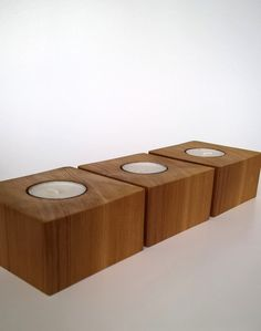 Wood Tea Light Candle Holder - Set of 3, Cedar. Wood candle holder by MeadhillRustic on Etsy