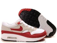 release date 3d0af 5d148 Cheap Mens 313097-161 Nike Air Max 1 White Sport Red Neutral Gre Cheap Nike