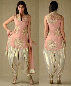 Fashion Dhamaka Kasab Work Baby Pink Salwar Suit. Georgette In Kurta & Dupatta, Simar In Dhoti Salwar