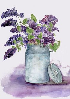Lilac in a Milk Churn by Alla Pimm, via Flickr #watercolorarts