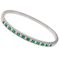 1.10ct Diamond 1.44ct Emerald Gold Bangle 1