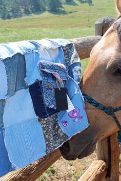 Items similar to Blue Jean Western Saddle Blanket horse pink hearts repurposed jeans on Etsy Saddle Blanket, Blue Jeans, Westerns, Reusable Tote Bags, Horses, Trending Outfits, Pink, Decor, Decoration