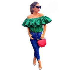 >> Click to Buy << Fashion Green Top Blusas De Fiesta Bar Neck Ruffles Women Tops Off Shoulder Beach Party Blouses Shirt Slash Neck Blouse  DM#6 #Affiliate