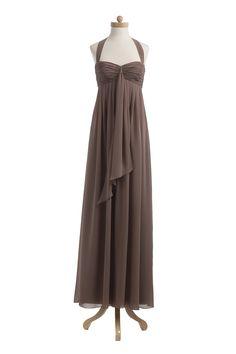 Chiffon Halter Long Dress #wedding #bridesmaid