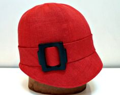 Cloche Hat in Red Linen with Vintage Buckle -  MADE TO ORDER -  3 Weeks to Ship