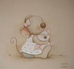 Cuadros infantiles Piccolo Mondo Baby Painting, Tole Painting, Baby Animal Drawings, Cute Drawings, Cute Images, Cute Pictures, Baby Animals, Cute Animals, Cute Mouse