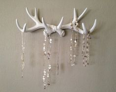 but real antlers. Faux Deer Antler Rack White Jewelry Holder Scarf Holder Mug Holder but I want to paint them and then bedazzle them also! Antler Jewelry Holder, Jewelry Hooks, Jewellery Storage, Jewelry Organization, Antler Necklace, Jewelry Box, Jewellery Holder, Etsy Jewelry, Storage Organization