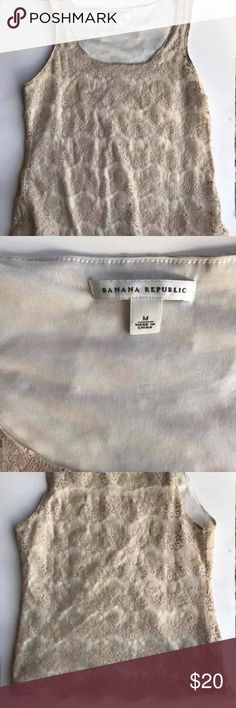 Size M Banana Republic lace tank top Size M Banana Republic lace tank top  Beautiful size M lace tank top from Banana Republic. Only worn once so is in excellent condition! Banana Republic Tops Blouses
