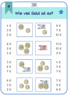 Locke: First class money cards Source link Math Worksheets, Math Activities, Primary School, Elementary Schools, Teaching Kids, Kids Learning, Money Cards, Learn German, Math For Kids