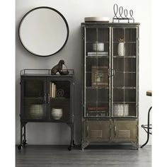 Distressed Black Metal Cabinet With 4 Doors is a graceful storage cupboard at almost 5 feet tall. For more metal cupboards, visit Antique Farmhouse today. Storage Cabinets, Tall Cabinet Storage, Black Display Cabinet, Antique China Cabinets, Farmhouse China Cabinet, Modern China Cabinet, Shabby Chic Shelves, Antique Farmhouse, Farmhouse Decor