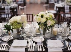 Place Settings - http://www.StyleMePretty.com/2014/03/20/classic-white-wedding-at-bacara-resort/ Patrick Moyer Photography on #SMP