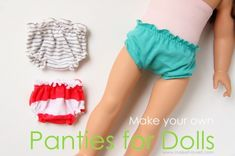 Doll underwear / panties tutorial with pattern from Make it & Love it via lilblueboo.com