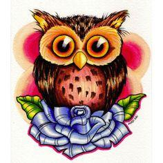 Tiny Owl by Michael Madison Tattoo Art Canvas Giclee Fine Art Print - Purple Leopard Boutique
