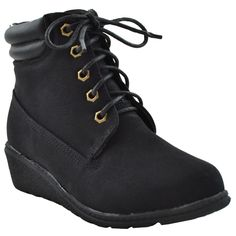 Kids Ankle Boots Lace Up Ankle Padded Wedge Comfort Hiking Lug Sole Shoes Black