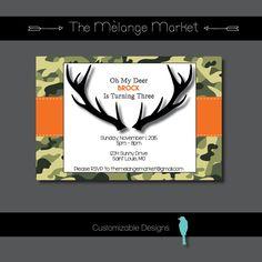 Oh My Deer - Birthday Party Invite {Printable} by TheMelangeMarket on Etsy