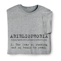 Abibliophobia Shirts $19.95 at Signals | HW1181