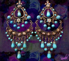 Large Exotic Boho Gypsy Chandelier Earrings- Turquoise Beaded Ethnic Earrings, Dark Bronze Half Moon, Bohemian Jewelry- MTO