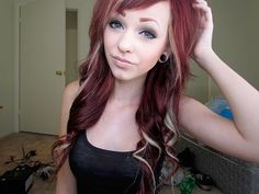 Gorgeous red hair with blonde highlights. love this.