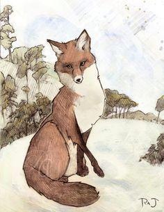 Fox Constellation Print of Original Art Nouveau Style Illustration ...