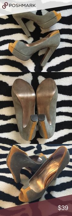 """BCBGeneration Jodeci Suede Platform Pump BCBGeneration Jodeci Suede Platform Pump. Size 7.5. Leather upper, man made material lining/sole. Heel height approx 5"""". In excellent preloved condition. The grey/mustard combo is perfect! BCBGeneration Shoes Heels"""