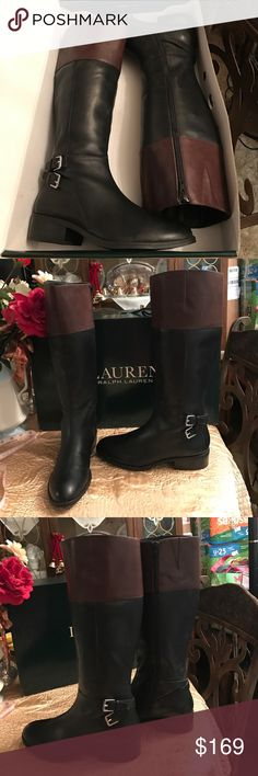 """Lauren Ralph Lauren Blk/Dk Masika Boots NIB!🎁💐👢 Lauren Ralph Lauren Blk/Dk Masika Boots NIB!🎁💐👢👢 brand-new in box  from BELK store. Calf is 13.5"""" and 17 high, with a 1 1/4"""" heel.  Comes from a non-smoking home pet free. I ship Monday Wednesday and Friday. Do you have any questions please ask! Lauren Ralph Lauren Shoes Heeled Boots"""