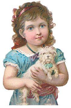 Bild einbinden:-Jungs und Mädchen mit Hund und Katz-Boys and girls with dog and cat Victorian die cut-Victorian scrap