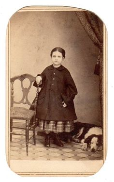 A girl in a winter coat... presumably, her dog is also wearing his winter coat... 1860s CDV Florence Lathrop Major Her Dog | eBay