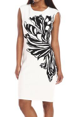 Calvin Klein NEW White Black Flower Women's XL Sheath Sweater Dress $134