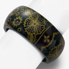 Wide Batik 'Royale Gold and Green' Resin Bangle, GeoArt by Cynthia Gale $45