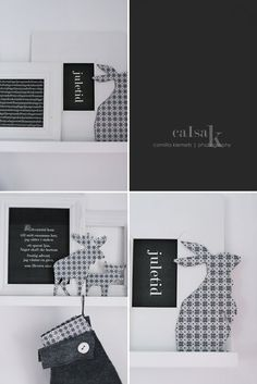cut shapes of moose, hare, reindeer or squirrel using Christmas pattern cardboard