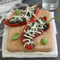 Sausage, spinach & ricotta stuffed peppers