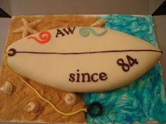 Surfboard Cake Beach Themed Cakes, Beach Cakes, Surfer Cake, Surfboard Cake, 18th Cake, Cook Up A Storm, Cakes For Boys, Cake Creations, Party Cakes