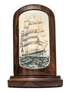 """""""Balclutha Leaving San Francisco"""" Color scrimshaw by Michael Cohen on ancient mammoth ivory. Excellent work by veteran scrimshander, Cohen. Well known vessel in the Bay Area, now part of the Maritime Museum's collection of historic vessels. Impressive piece of mammoth ivory. Size: 3 3/4""""W x 1 1/4""""D x 5 1/2""""H Price: $1,350.00  -- on ScrimshawGallery.com #scrimshaw"""