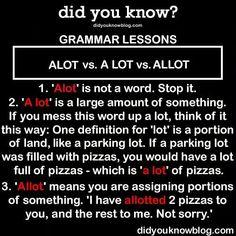 Alot vs A Lot vs Allot - Grammer Lesson