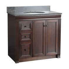 "Foremost SH3621DL Shawna Bathroom Vanity 36"" with Left Side Drawers Tobacco Fixture Vanity Single"