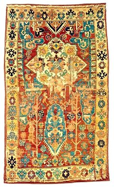 Eastern Anatolia, 'Cypress and Medallion' rug, 4.6 x 9.8 feet, circa 1700-50. This design reflects a style of large workshop carpets woven in eastern Anatolia, or western Caucasus, in the early 18th century. One such carpet, published by Serare Yetkin, shows a date of 1744 AD. Another large carpet with these cypress and medallion motifs is from the McIlhenny Collection in the Philadelphia Museum of Art. This smaller village carpet shows how patterns transferred from workshop production to…