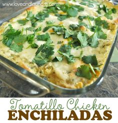 {Guest Post} Tomatillo Chicken Enchiladas - Just Us Four. YUM! This was great...3.12.14