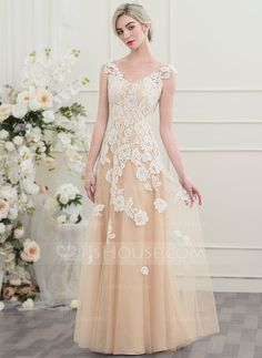 A-Line/Princess V-neck Floor-Length Zipper Up Cap Straps Sleeveless Church Hall General Plus No Spring Summer Fall Champagne Tulle Height:5.7ft Bust:33in Waist:24in Hips:34in US 2 / UK 6 / EU 32 Wedding Dress