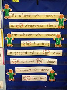Gingerbread Man activity that can be used for position words. They could hide a cookie and then the group sings the song while a kid looks for the cookie. When they find it, they have to say I found it under, over, on, behind...