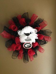 Someone crafty make this for me!!! Georgia Bulldog Mesh Wreath by JustAdoorItWreaths on Etsy, $50.00